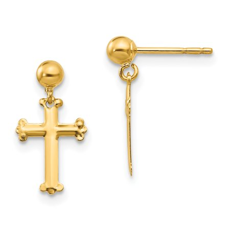 14K Yellow Gold Madi K Children's 8 MM Cross Dangle Post Stud Earrings