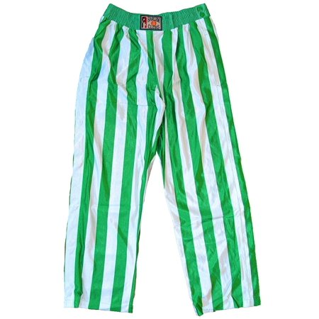 Button Down Snap On Stripe Pants Green and White (Large) -