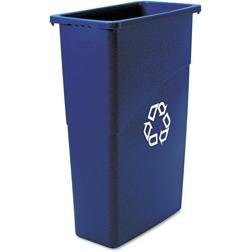 Rubbermaid Commercial Slim Jim Blue Plastic Recycling Container, 23 gal
