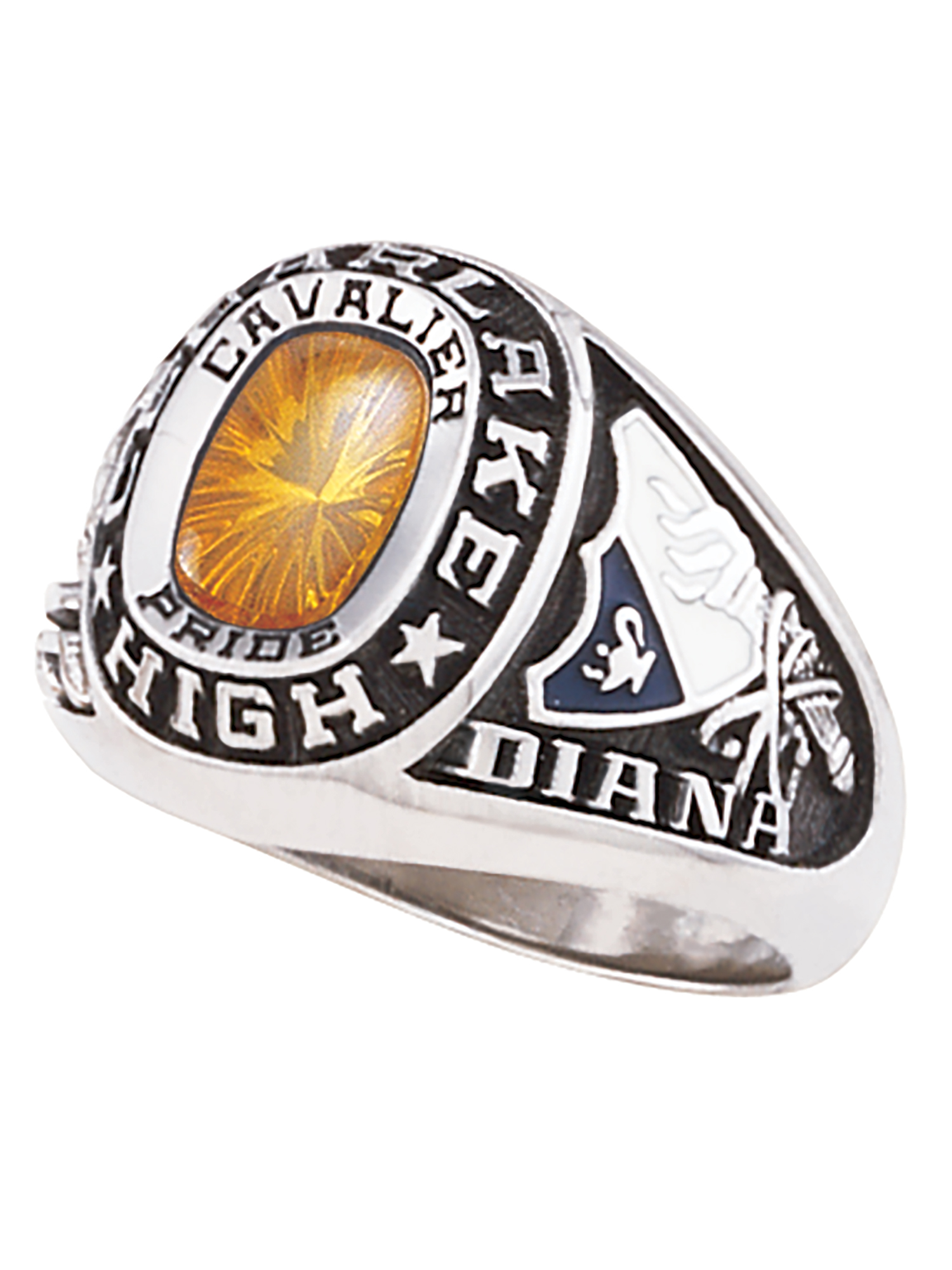 Keepsake Personalized Women's USA Class Ring available in Valadium, Silver Plus, Yellow and White Gold