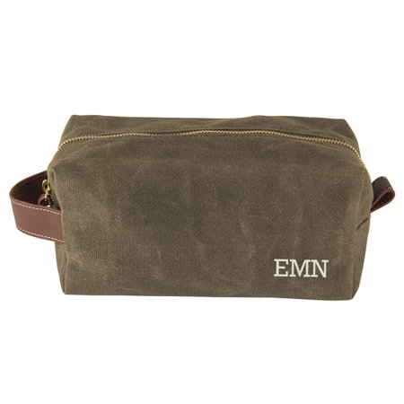 1f684e42db Personalized Men s Waxed Canvas and Leather Dopp Kit
