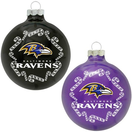 Topperscot nfl baltimore ravens home and away glass ornament set set of 2 for Baltimore glassware decorators