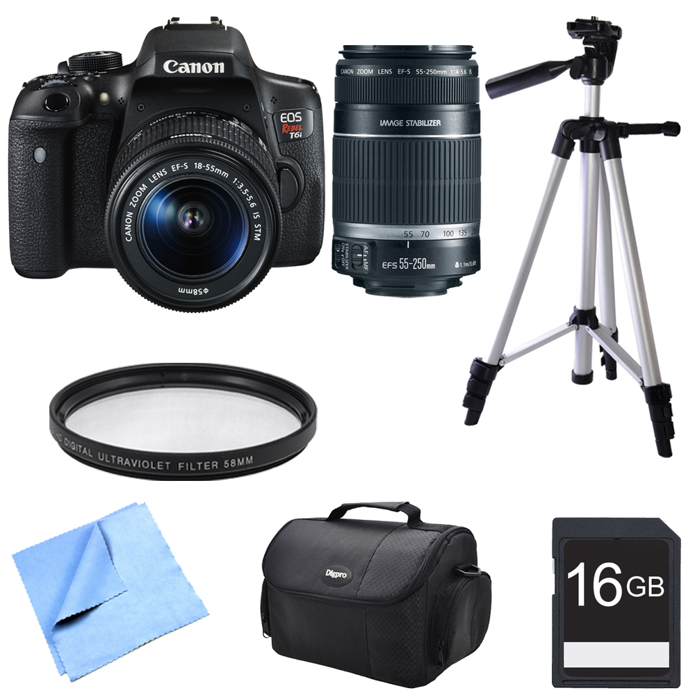 Canon EOS Rebel T6i Digital SLR Camera with EF-S 18-55mm Kit with EF-S 55-250mm Telephoto Lens, Compact Gadget Bag, 57-Inch Tripod, 58mm Protective Filter, 16GB Memory Card and Micro Fiber Cloth