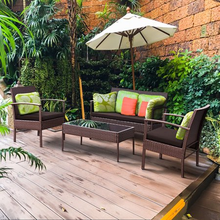 Costway 4 PCS Patio Rattan Wicker Furniture Set Brown Loveseat Sofa Cushioned Garden - Garden Furniture Care