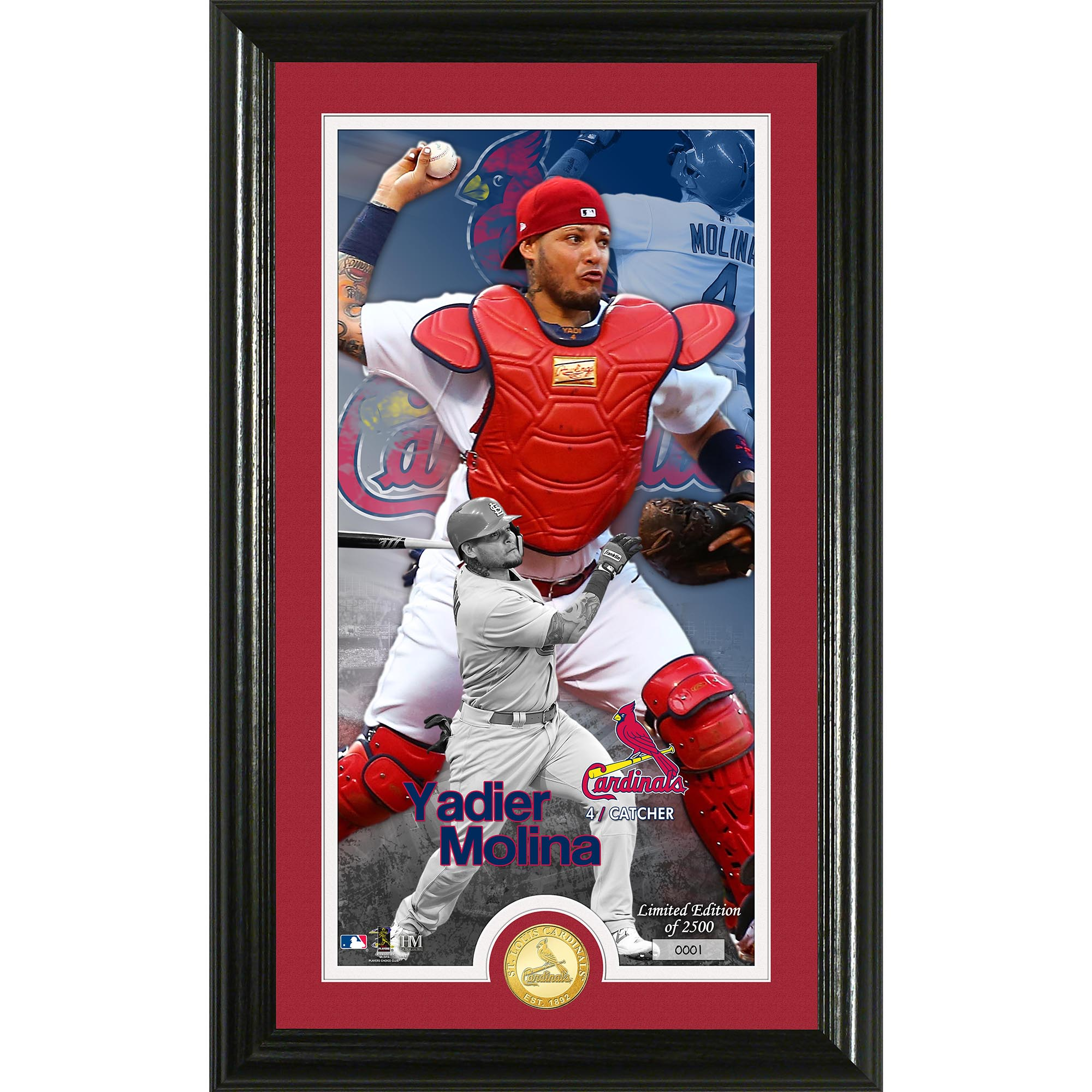 "Yadier Molina St. Louis Cardinals Highland Mint 12"" x 20"" Player Supreme Photo Mint - No Size"