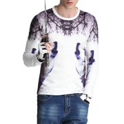 f03ee5336346 Men`s 3D Digital Wolf Animal Print Crew Neck Long Sleeve T Shirts White (