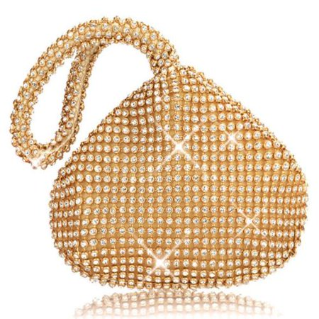 Eleoption 2018 Fashion Women Rhinestone Luxury Triangle Clutch Evening Bag Bling Zipper Party Prom Wedding Purse