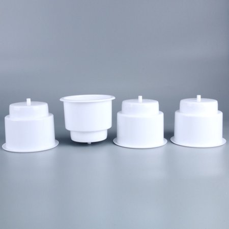 Legoyo 4 Pcs Boat White Recessed Plastic Cup Drink Can Holder with Drain