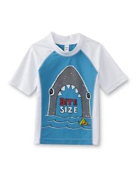 Infant & Toddler Boys White/Blue Bite Size Shark Rash Guard Swim Shirt