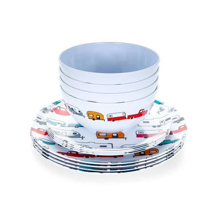 Camco Life is Better at The Campsite 12 Piece Dishware Set-Multicolor Retro RV and Trailer Print, Includes Plates and Bowls, Perfect for RVing and Camping - Life Places