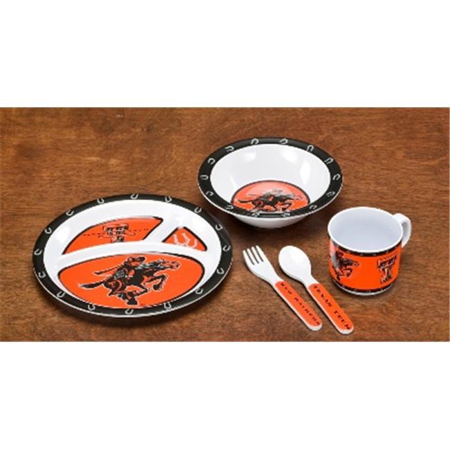 BSI PRODUCTS  31027 Kids 5 Pc.  Dish Set- Texas Tech Red Raiders