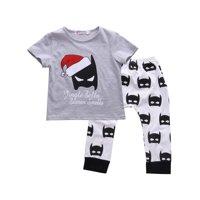 Toddler Kids Baby Boy Girls Christmas Outfits Tops + Batman Pants 2pcs Clothes Set