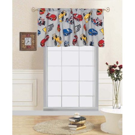 """1-PC RACE CAR Kids Straight Rod Pocket Window Curtain Valance 55""""in Wide x 18""""in Length"""