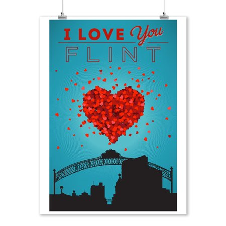 I Love You Flint, Michigan - Lantern Press Artwork (9x12 Art Print, Wall Decor Travel Poster) ()