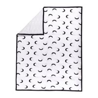 Little Star Organic 100% Pure Organic Cotton Reversible Quilt, White-To the Moon and Back