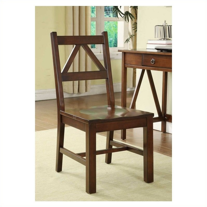 Linon Titian Dining Chair in Antique Tobacco