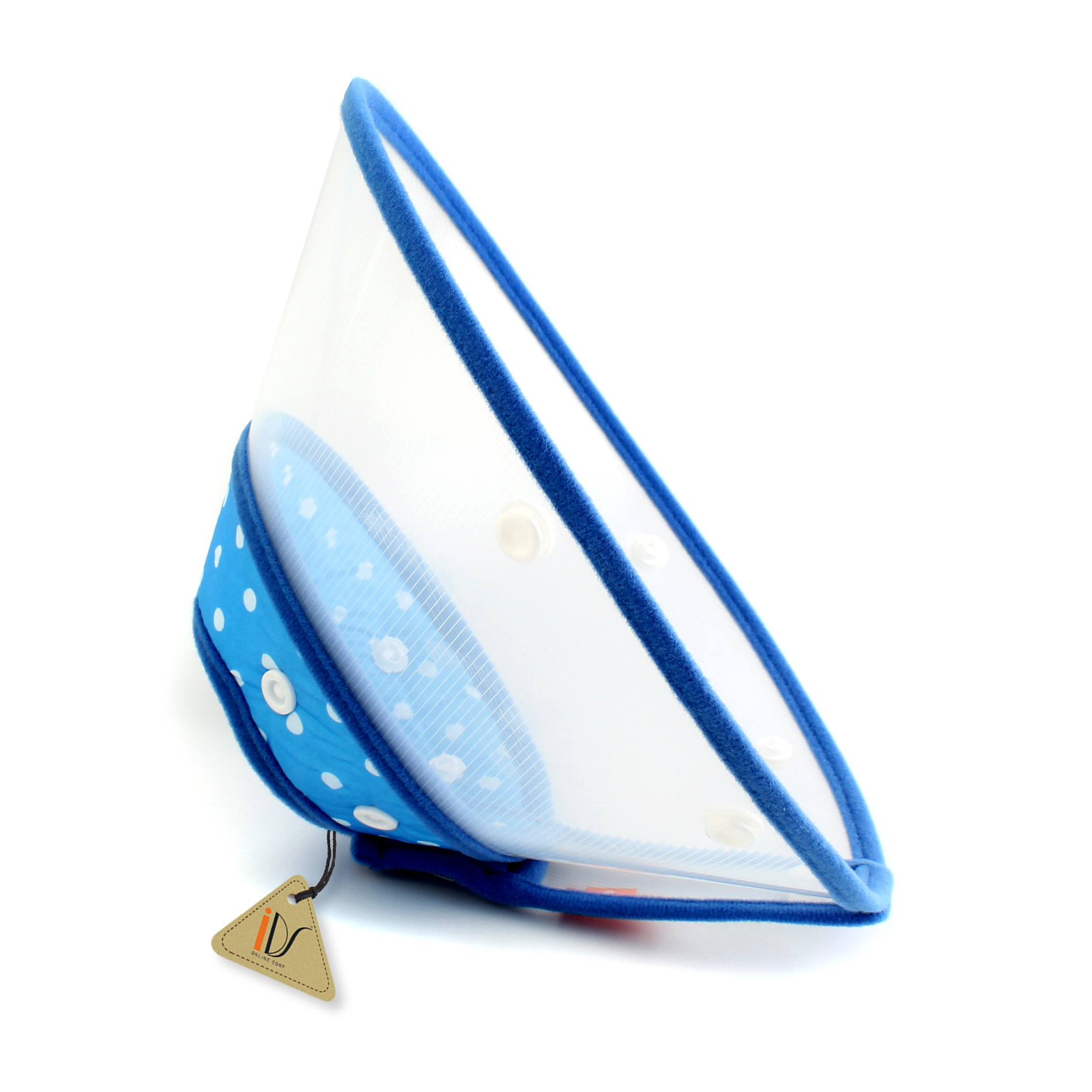 Healing Elizabethan Dot and Cat Cone Collar Cone, Blue