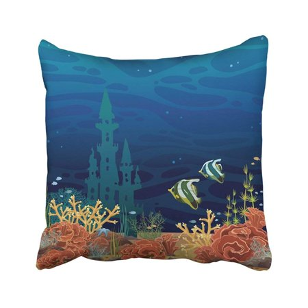 BPBOP Night Seascape Beautiful Colored Coral Reef With Fishes And Underwater Castle On Dark Sea Pillowcase Throw Pillow Cover 18x18 inches