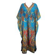Mogul Women Blue Long Kaftan Dress Floral Print Tunic Long Maxi Kimono Caftan Gown Nightdress, Boho Beach Bikini Cover Up Maternity Plus Size