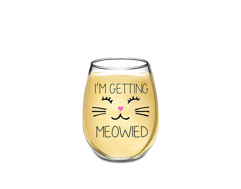 im getting meowied funny wine glass 15oz unique wedding gift idea for fiancee bride bridal shower