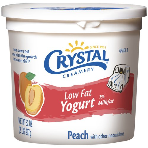 Crystal Creamery Peach Low Fat Yogurt, 32 oz