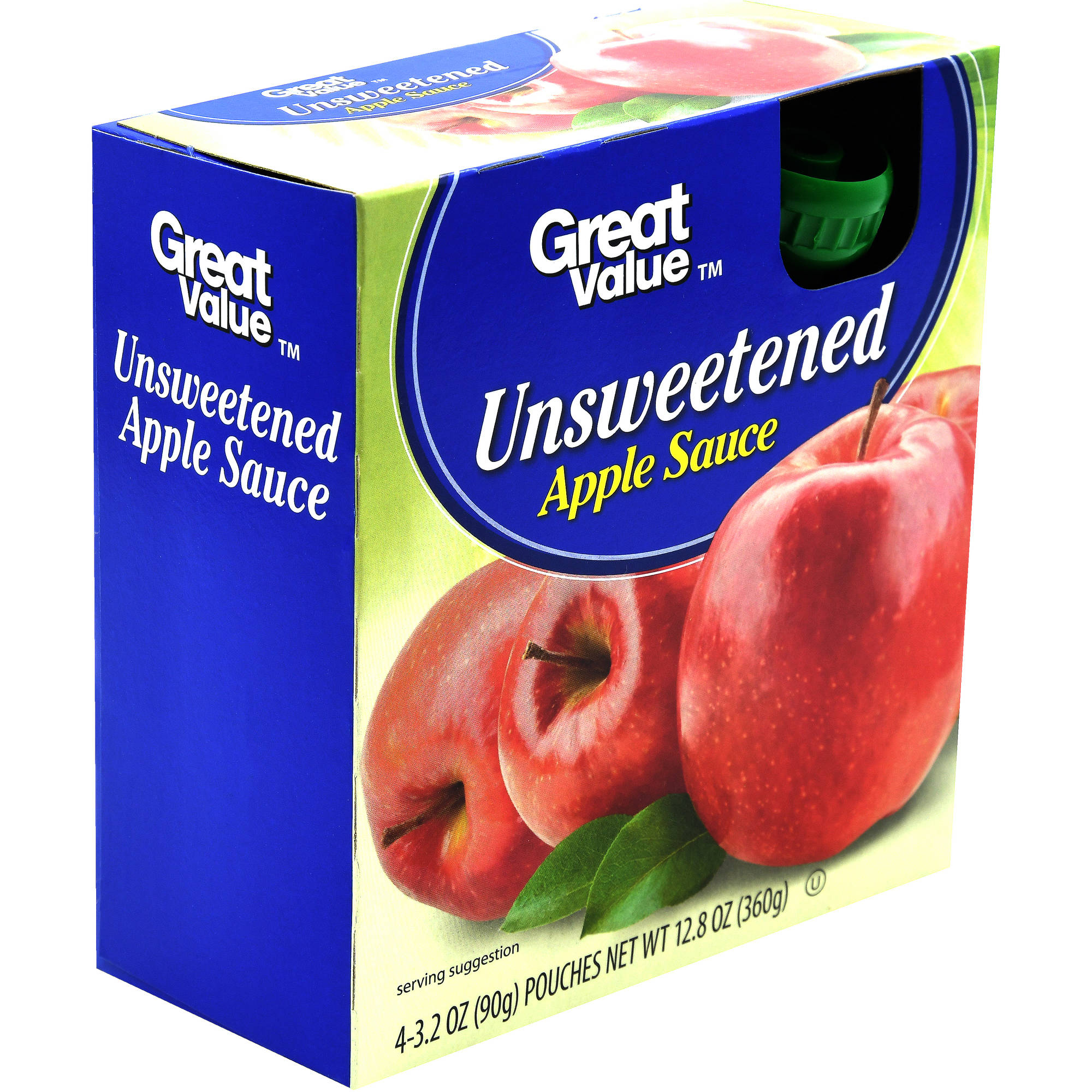 (4 Pack) Great Value Applesauce Pouches, Unsweetened, 3.2 oz, 4 Count