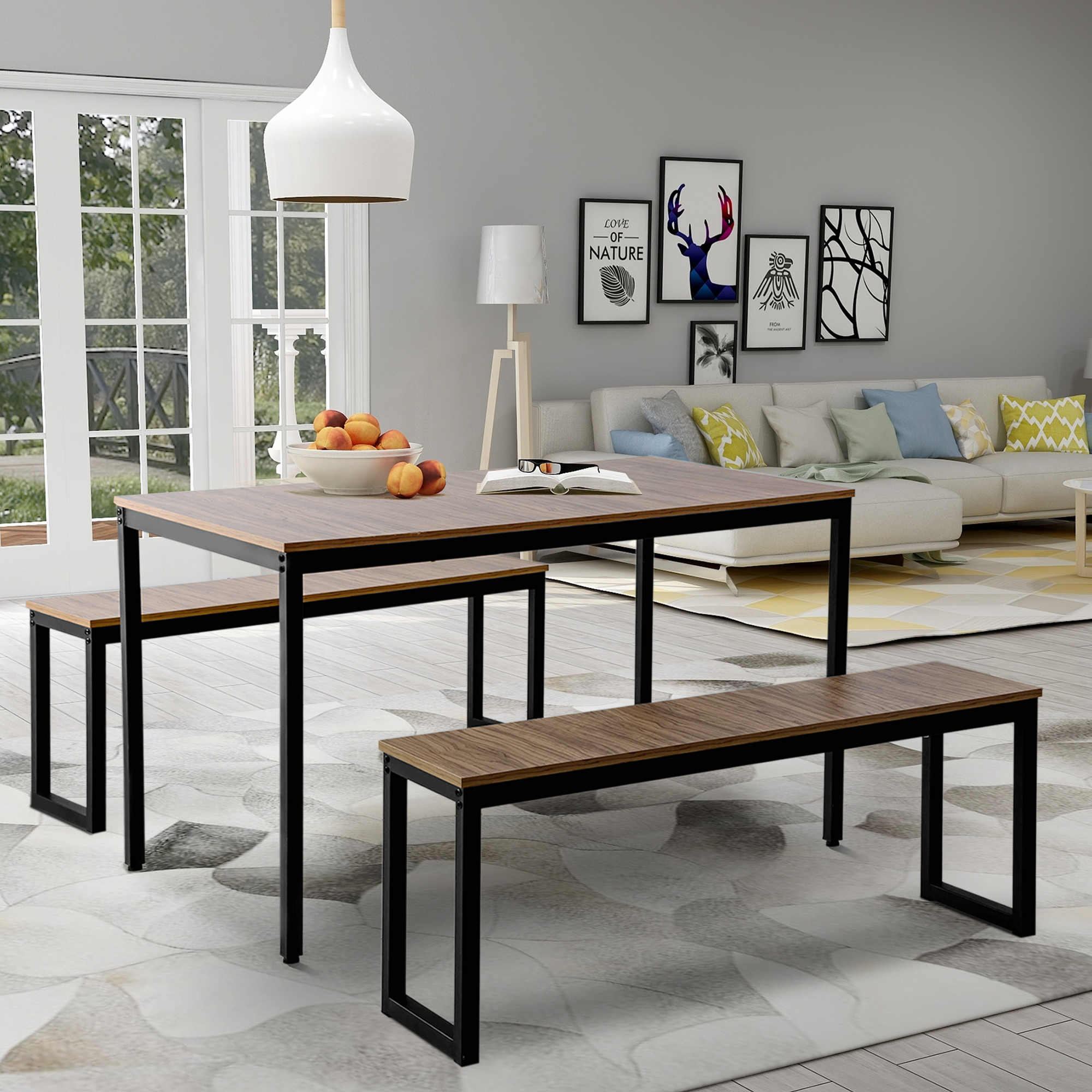 ModernLuxe 3 Piece Dining Set, Kitchen Table with Benches