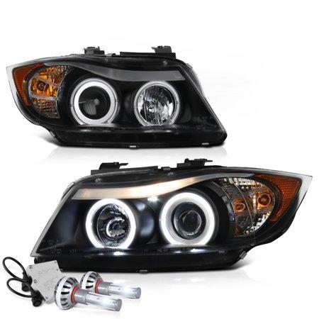 [For 2006-2008 BMW E90 E91 3-Series Halogen Model] CCFL Halo Ring Black Projector Headlight Headlamp Assembly, Driver & Passenger