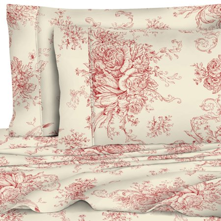 400 Thread Count Cotton Toile Sheet Set, Red Toile Queen Bedding
