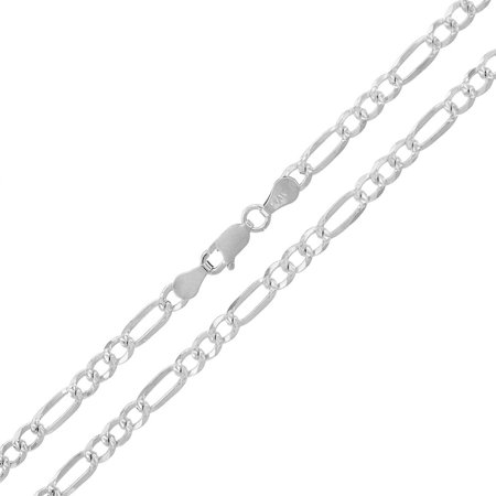 4mm Round Black Rubber Necklace - Sterling Silver Italian 4mm Figaro Link Diamond-Cut ITProLux Solid 925 Necklace Chain 16
