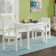 Timy Kids Table and 2 Chairs Set, Solid Hard Wood, White