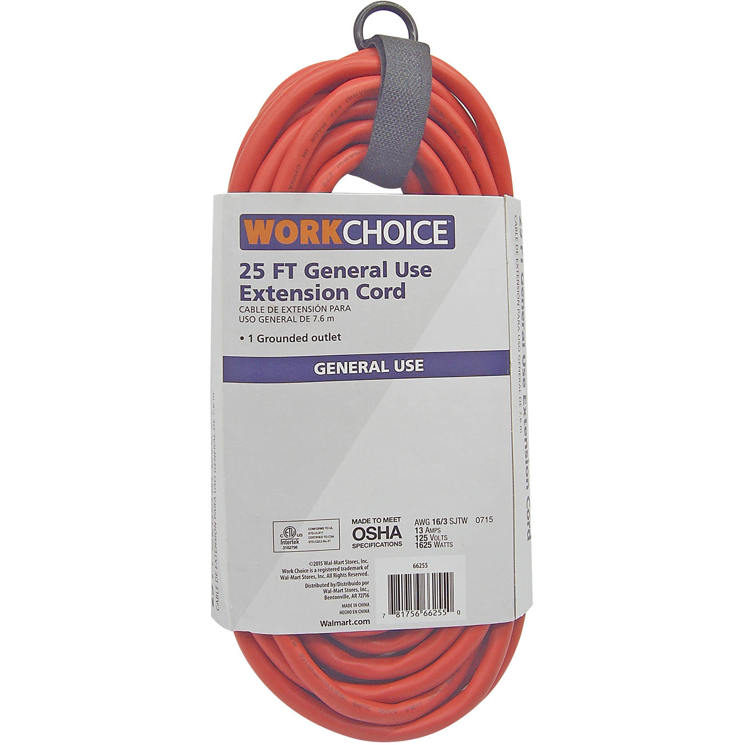 WorkChoice 16/3 Orange Cord, 25'