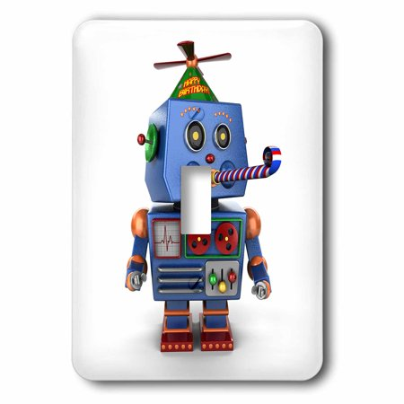 3dRose Vintage toy robot with birthday party hat blowing a party favor celebration cute funny event, 2 Plug Outlet Cover