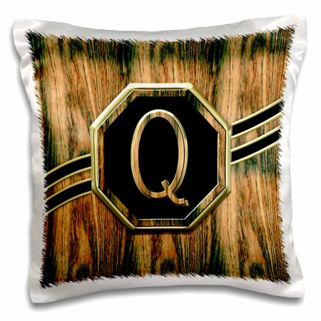 3dRose Elegant Faux Gold and Wood Grain Monogram Letter Q - Pillow Case, 16 by 16-inch
