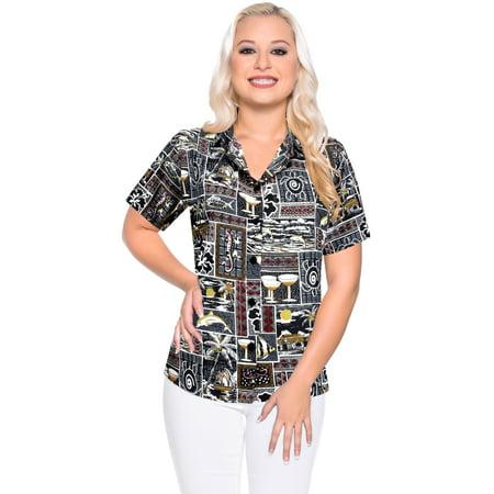 Top Women Hawaiian Shirt Beach Blouses Tank Casual Aloha Boho Holiday Loose Fit