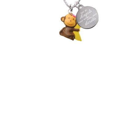 Resin Monkey Hugging a Banana Not All Angels Have Wings Some Wear Scrubs Engraved Necklace