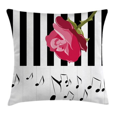 Modern Throw Pillow Cushion Cover, Hand Drawn Red Rose on Piano with Musical Notes Romantic Instrumental Art, Decorative Square Accent Pillow Case, 18 X 18 Inches, Scarlet Black White, by Ambesonne - Musical Red Rose