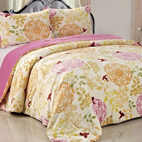 BOON Throw & Blanket Double Flannel 3 Piece Leaves Blanket Set by Nantong BNF Textile Co.