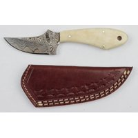 Damascus Fixed Blade Skinner with Bone Handle