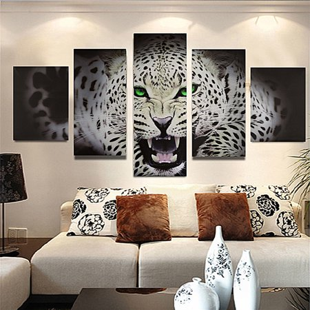 5Pcs Modern Abstract Leopard Cheetah Canvas Oil Painting Unframed Art Picture Print Home Wall (Abstract Cheetah)
