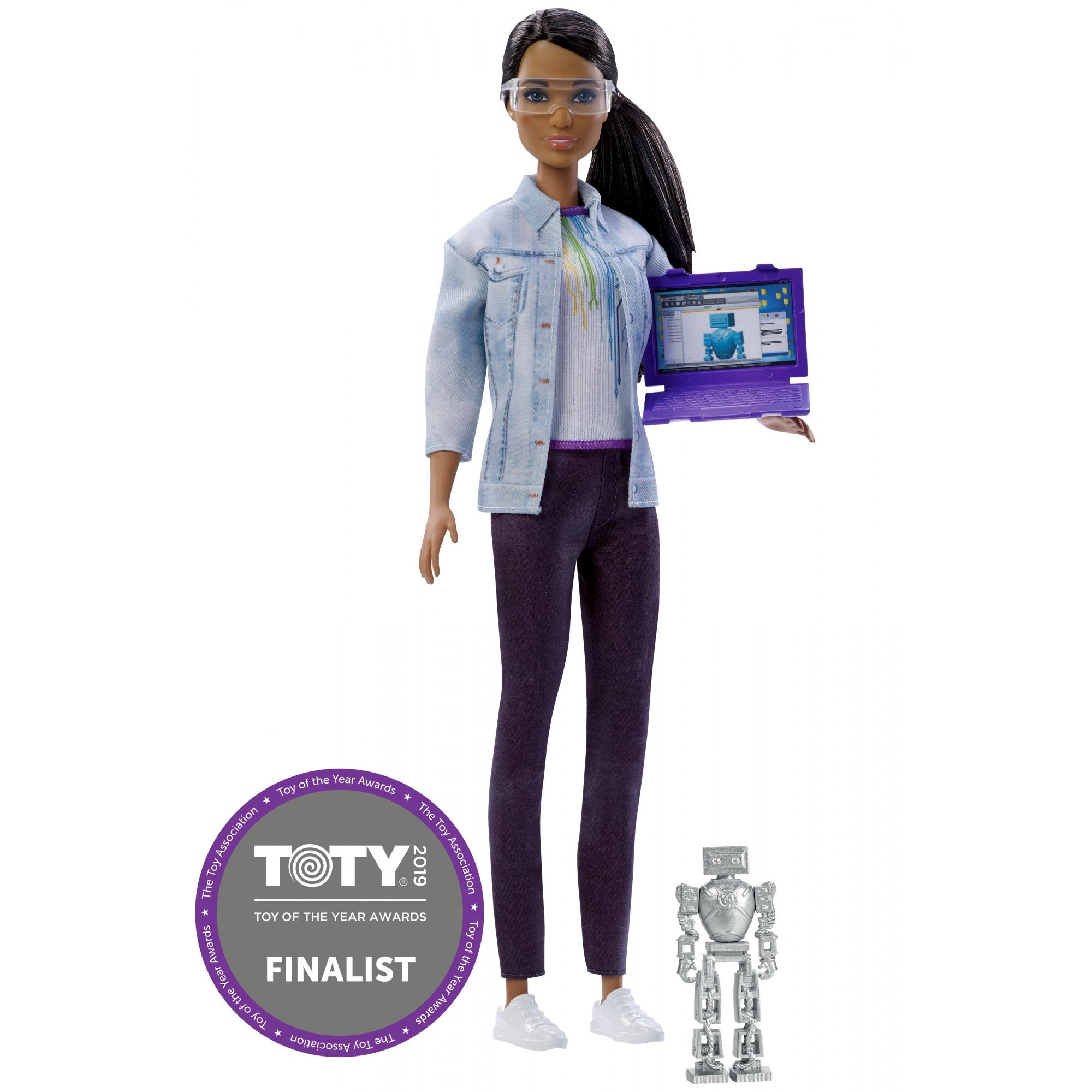 Barbie Career Robotics Engineer Doll, Brunette, with Laptop & Robot