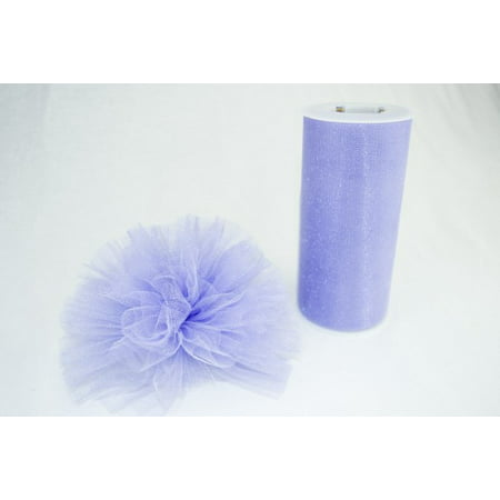 Ribbon Bazaar Gala Sparkle Tulle 6 inch Lilac 25 yards 100% Polyester Ribbon](Lilac Tulle)