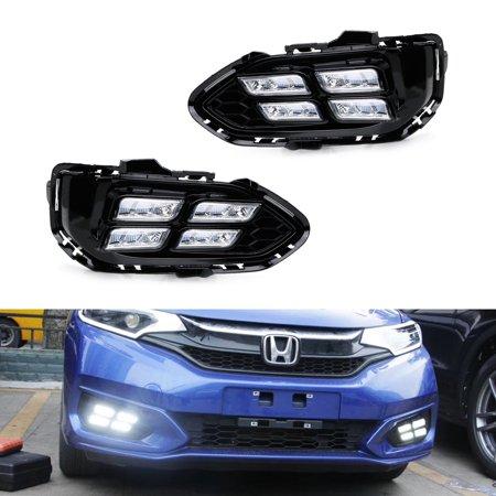 iJDMTOY Exact Foglamp Location Fit High Power Xenon White LED Daytime Running Light Kit For 2018-up Honda Fit (Facelift LCI Model (Honda Fit Ac Only Works On High)