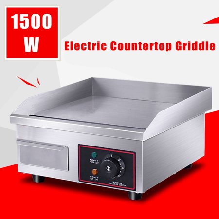 110V 1500W Electric Countertop Griddle Flat Top Commercial Restaurant Grill BBQ 14'' x 16''x 8''
