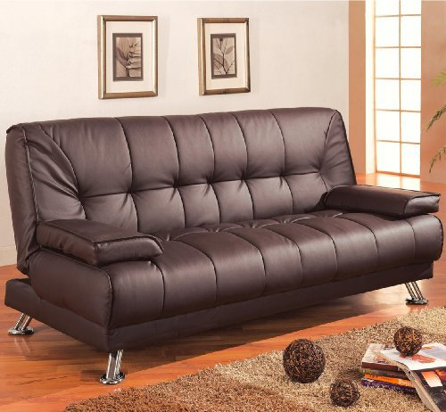 coaster futon sofa bed with removable arm rests brown vinyl coaster futon sofa bed with removable arm rests brown vinyl      rh   walmart