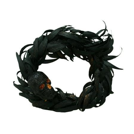 Gothic 24 Inch Diameter Black Skull Halloween Door Wreath (Black Feather Halloween Wreath)