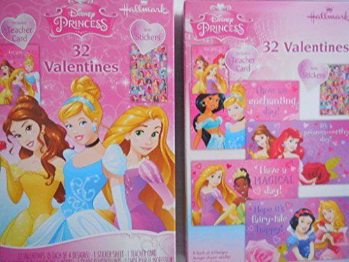 Hallmark Disney Princess 32 Valentine Cards, One (1) Sticker and One (1) Teacher Card by hallmark