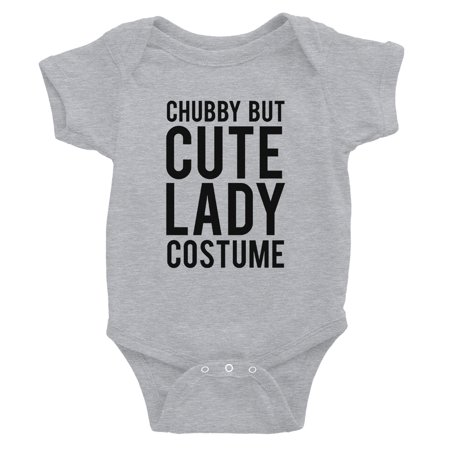 Chubby But Cute Lady Costume Baby Bodysuit Gift Grey - Cute Chubby Teen