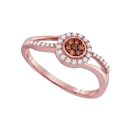 Size - 7 - Solid 10k Rose Gold Round Chocolate Brown And White Diamond Engagement Ring OR Fashion Band Prong Set Flower Shaped Halo Ring (1/4 cttw)