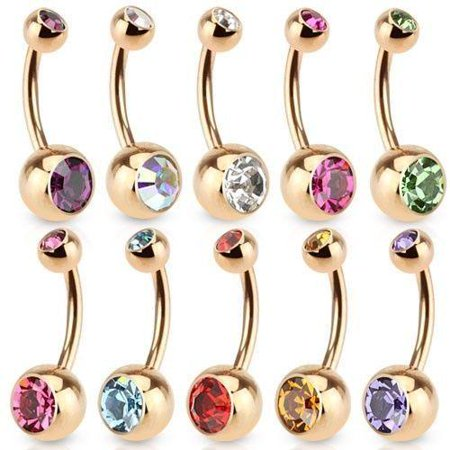 Rosette Rose Ring (Rose Gold Belly Button Ring Gold Over Surgical Steel 14g )